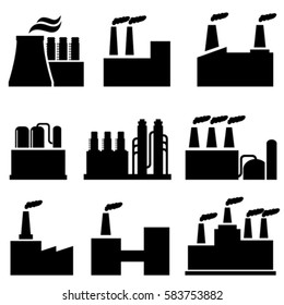Industrial buildings and factories icon set