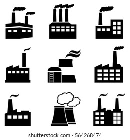 Industrial buildings, factories and power plants polluting with smoke