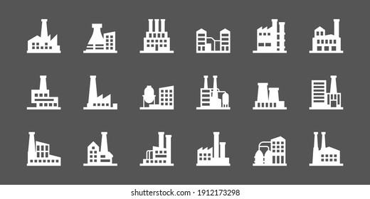 Industrial buildings. Hazzard factory manufacture icons collection power plant garish vector silhouettes