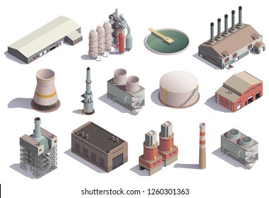 Industrial buildings isometric icons set with isolated images of factory facilities for different purposes with shadows vector illustration