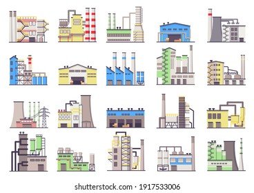 Industrial buildings. Manufacturing factory,  power station and warehouse building flat vector icons set