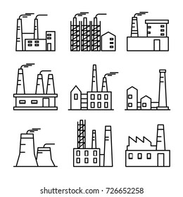 Industrial buildings thin line icons set. Plant and factories. Heavy industry power and nuclear plants.