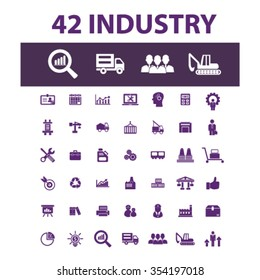 Industrial business, factory, industry, meeting, logistics, manufacturing, plant, engineering, concept icons, signs, vector set