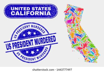 Industrial California State map and blue Us President Murdered textured seal stamp. Colored vector California State map mosaic of repair components. Blue rounded Us President Murdered stamp.