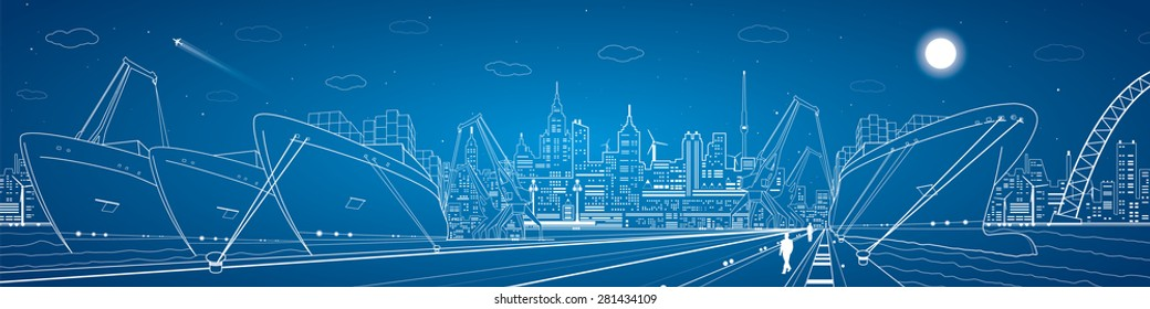 Industrial cargo port panorama, vector lines landscape, night city, ships on the water