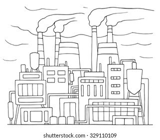 Industrial cartoon sketch of nuclear power station. Doodle factory with smoking plants pipes. Hand drawn vector illustration for business and ecology design isolated on white.