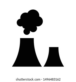 industrial chimney icon black and isolated vector illustration