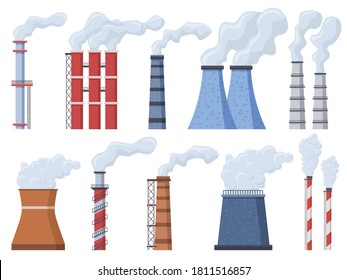 Industrial chimney. Manufacturing industrial chimney, toxic air chimney pipes, factory chimney smoke pollution vector illustration icons set. Plant emitting dirty smog, air pollution