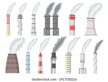 Industrial chimney with smoke cloud. Factory pipes air pollution vector illustration set