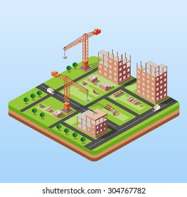 Industrial city building with construction cranes and town houses, a car made in perspective