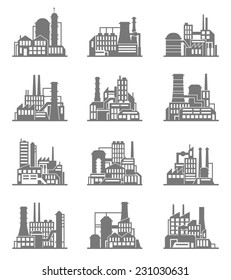 Industrial city construction building factories and plants black icons set isolated vector illustration