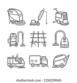Industrial Cleaning Service. Worker. Vacuum Scrubber. Sweeper Machines. Thin line icon set. Vector illustration.