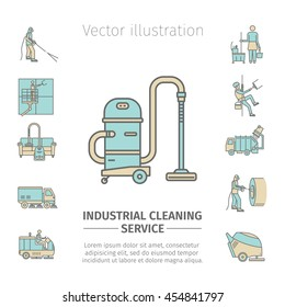 Industrial Cleaning Service. Worker. Vacuum Scrubber. Sweeper Machines. Flat icon set. Vector illustration.