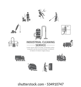 Industrial Cleaning Service. Worker. Vacuum Scrubber. Sweeper Machines. Pictograms set. Vector illustration.