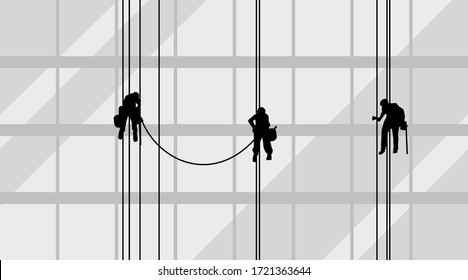 Industrial climber at work. Cleaners silhouettes with ropes, buckets, and scrubbers on the wall of the glass and steel modern building. Vector illustration