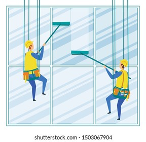 Industrial Climbers Workers Wash Building Exterior Suspended on Ropes. Alpinist Washermen Hanging on Ropes Cleaning Skyscraper Windows. Professional Cleaning Sevice Cartoon Flat Vector Illustration