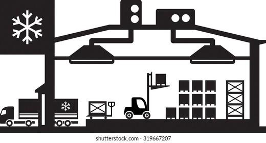 Industrial cold store scene - vector illustration