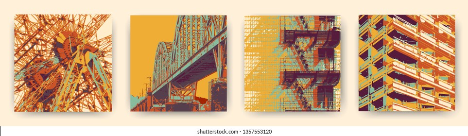 Industrial collection of arts for interior. Expressive meditative mood. Psychedelic east european urban illustrations.