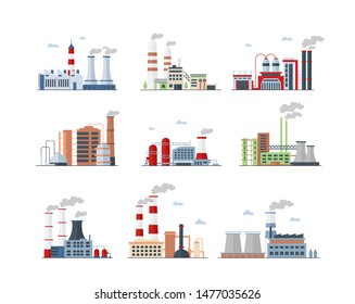 Industrial complex, Factory buildings color icons set