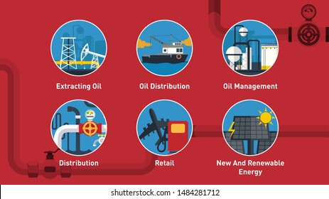 Industrial concept info graphic design. clean vector. oil and gas industry infographics, extraction, processing and transportation, process and icons. truck and ship barrel and mining machine.