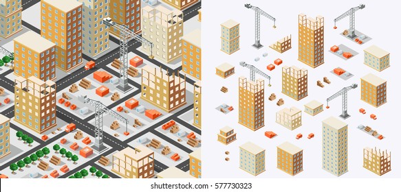 Industrial concept isometrics in the big city skyscrapers under construction, houses and buildings