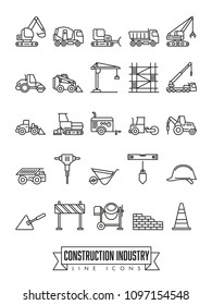 Industrial construction machinery and tools line icon collection
