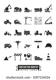 Industrial construction machinery and tools solid black icon collection