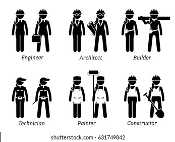Industrial and Constructions Jobs, Works, and Occupations for Women. Artworks depict female engineer, woman architect, builder, girl technician, lady painter, and female constructor.