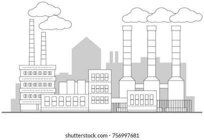 Industrial contour factory landscape. Vector linear illustration. Background. Pipes with smoke. Painting. Editable. EPS10