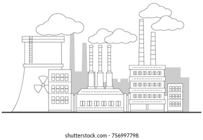 Industrial contour factory with nuclear station landscape. Vector linear illustration. Painting. Editable. Background. Pipes with smoke. EPS10