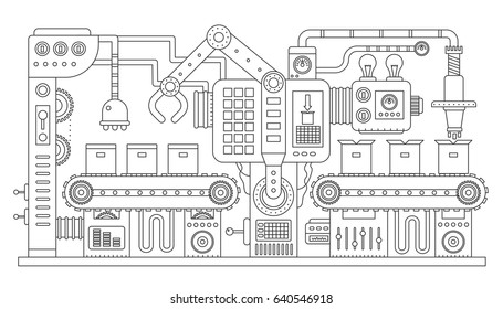 Industrial conveyor belt line outline vector illustration. Conveyor process abstract machine production. Strike line style.
