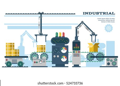 Industrial conveyor belt line vector illustration. Conveyor process production, conveyor with machinery robot