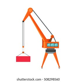 Industrial crane loading container. Cargo crane icon. Container terminal element. Large industrial crane for cargo container. Logistics and transportation of cargo. Isolated object on white background