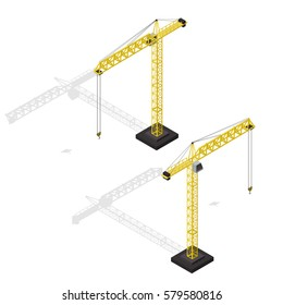 Industrial Crane Set Isometric View Equipment for Construction Building Business. Vector illustration