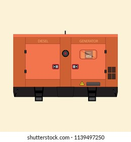 Industrial diesel generator on a white background in a flat style.