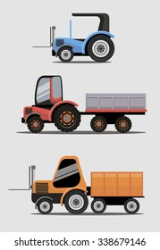 Industrial different types of vector Tractors image design set for your illustration, decoration, labels, stickers and other creative needs.