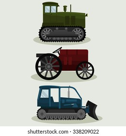 Industrial different types of vector  Vintage Tractors image design set for your illustration, decoration, labels, stickers and other creative needs.