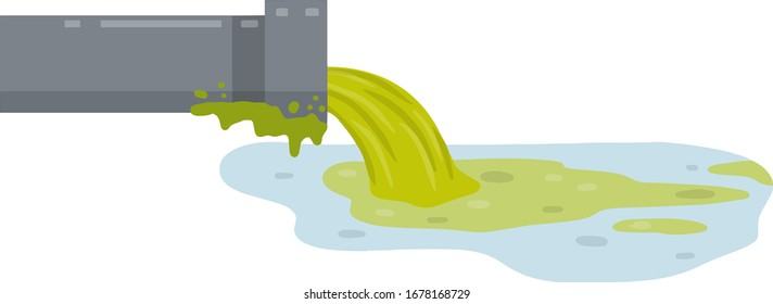 Industrial discharge from the pipe. Chemical waste. Cartoon flat illustration. Pollution of nature and ecology. Modern problem. Green stream in river