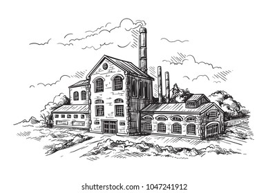 industrial distillery factory. Vector illustration