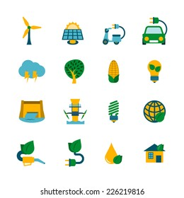 Industrial ecological solutions of cleaner air water production cycle systems flat icons collection abstract isolated vector illustration
