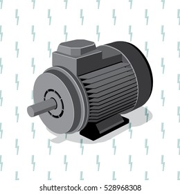 Industrial Electric Engine Isometric View Realistic Icon - Grey Elements on Repeating Turquoise Lightning Symbol of Electricity Wallpaper Background - Flat Graphic Design