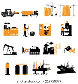 Industrial energy, electricity power and ?onstruction  icons