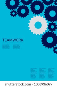 Industrial engineering background. Wheels and cogs colorful gear catalog. Vector minimal flat page. Graphic template. Indigo blue and grey gears. Industrial engineering background design.
