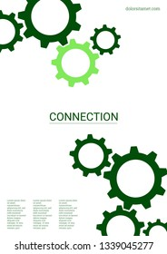 Industrial engineering background. Wheels and cogs colorful gear magazine. Green cogs on white background. Vector minimal flat page. Graphic template. Industrial engineering background design.