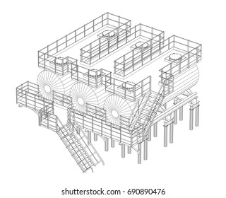Industrial equipment. Detailed vector illustration on white background. Vector rendering of 3d. Wire-frame style