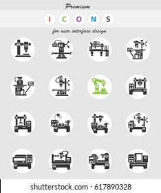 industrial equipment web icons for user interface design