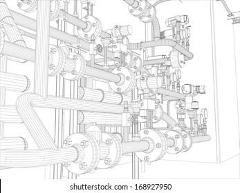 Industrial equipment. Wire-frame. Vector EPS10 format. Vector rendering of 3d