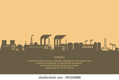 Industrial Estate with buildings and structures in flat icon design and yellow sky with dark clouds background (vector)