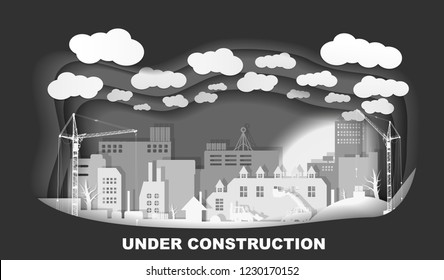 Industrial European vintage styled city under construction. Paper layered art paper card. Web, maintenance, working concept. Vector illustration