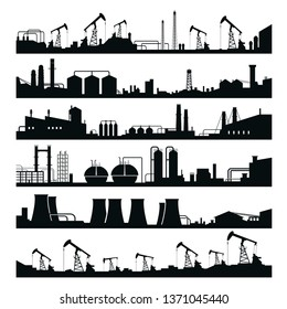 Industrial factories panorama set, black building silhouette. Machine business and architecture. Vector line art illustration industrial landscape on white background